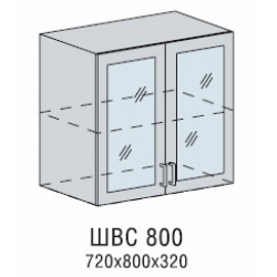 Валерия шкаф верхний со стеклом 800
