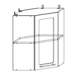 София - Лондон шкаф верхний угловой со стеклом 550x550