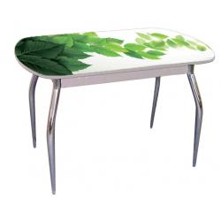 Стол раздвижной стекло с фотопечатью мята зеленая