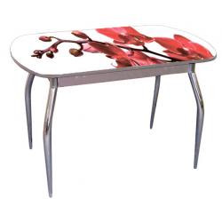 Стол раздвижной стекло с фотопечатью цветок красный