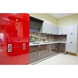 """Кухня пластик """"Красный глянец+Африканское дерево+Супер белый"""""""