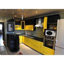 """Кухня пластик """"Желтый+черный"""""""