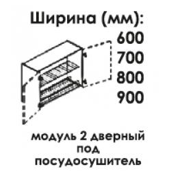 Модуль верхний 2 дверный под посудосушитель высота 720