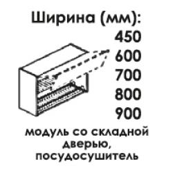Модуль верхний со складной дверью под посудосушитель высота 720