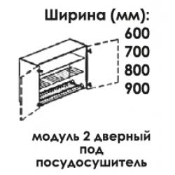 Модуль верхний 2 дверный под посудосушитель 960