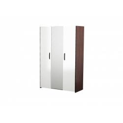 М12.01-Шкафдля платья и белья 3-х дверный с зеркалом, венге цаво/ белое