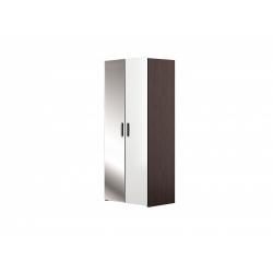 М13.01-Шкаф для платья и белья 2-х дверный с зеркалом, венге цаво/ белое