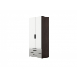 М14-Шкаф для платья 2-х дверный с ящиками, венге цаво/ белое