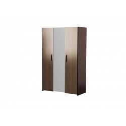 М12.01-Шкафдля платья и белья 3-х дверный с зеркалом, венге цаво/ рафия