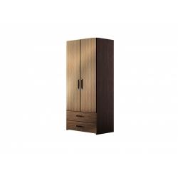 М14-Шкаф для платья 2-х дверный с ящиками, венге цаво/ рафия