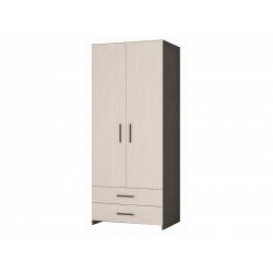 М14-Шкаф для платья 2-х дверный с ящиками, венге цаво/дуб беловежский