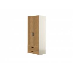 М14-Шкаф для платья 2-х дверный с ящиками, вяз ненси свет/вяз ненси тем