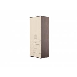 С07 Шкаф для платья и белья 2-х дверный с ящиками, венге цаво/дуб беловежский