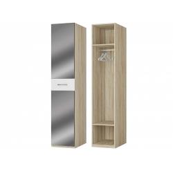 Шкаф для платья 1-но дверный с зеркалом, дуб сонома/белый
