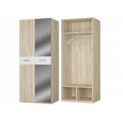 Шкаф для платья 2-х дверный с зеркалом, дуб сонома/белый