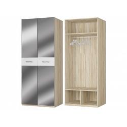 Шкаф для платья 2-х дверный с зеркалами, дуб сонома/белый