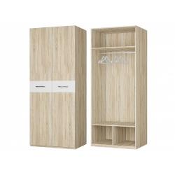 Шкаф для платья 2-х дверный, дуб сонома/белый