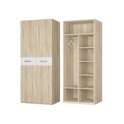 Шкаф для платья и белья 2-х дверный, дуб сонома/белый