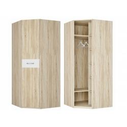 Шкаф для платья и белья угловой, дуб сонома/белый