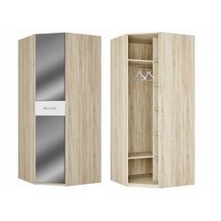 Шкаф для платья и белья угловой с зеркалом, дуб сонома/белый