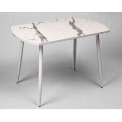 Стол кухонный мрамор белый опоры конус 1100