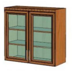 КМ Деметра шкаф верхний двухдверный витраж 900 (№10)