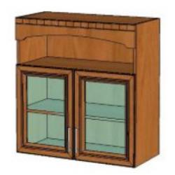 КМ Деметра шкаф верхний двухдверный витраж с нишей 800 (№14)