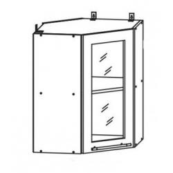 Капля глянец шкаф верхний угловой со стеклом 550