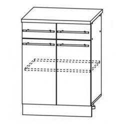Капля глянец шкаф нижний 2 верхних ящика 600