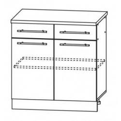 Капля глянец шкаф нижний 2 верхних ящика 800