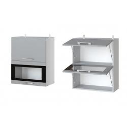 Фиджи шкаф верхний двойной горизонтальный со стеклом 600