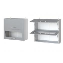 Парма шкаф верхний двойной горизонтальный со стеклом 800