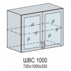 Валерия шкаф верхний со стеклом 1000
