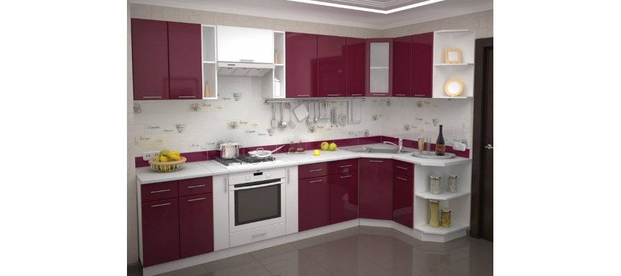 Кухня модульная - Валерия (Бордовый)