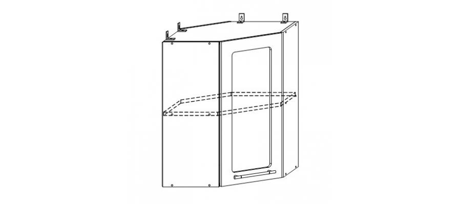 София шкаф верхний угловой со стеклом 550x550