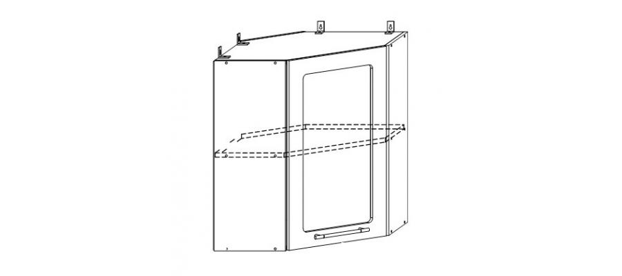 София - Лондон шкаф верхний угловой со стеклом 600x600
