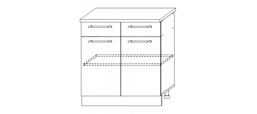 София - Гренада шкаф нижний 2 ящика 800x850