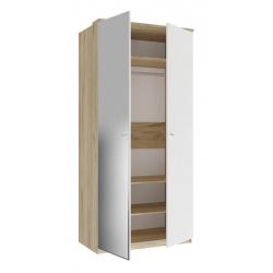 Фиджи белый шкаф двухстворчатый с зеркалом 1096