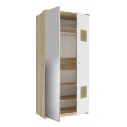 Фиджи белый шкаф двухстворчатый с зеркалом с декоративными накладками 1096